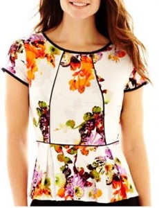 floral tall peplum blouse