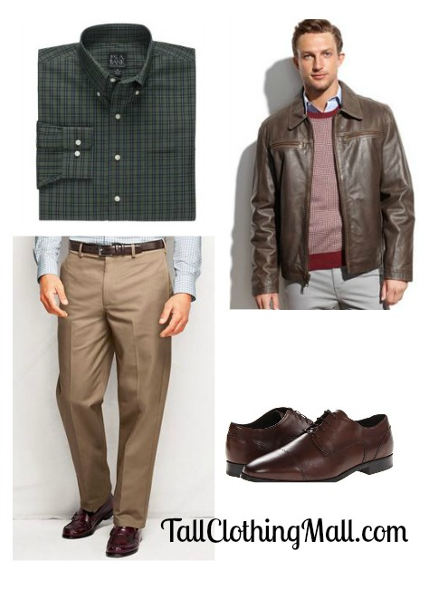 long sleeve sportshirt, khaki pants and dress shoes. Consider it your dressy uniform. You can take it up a notch with a leather jacket or blazer