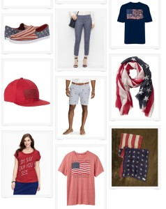 tall red white and blue clothes and accessories