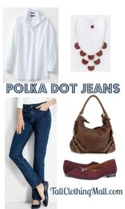 polka dot tall jeans