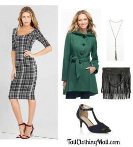 women's tall green coat and outfit